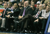 George Karl screams out plays in the first quarter of the Nuggets Monday evening game against the...