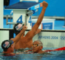(Athens, Greece  on Saturday, Aug. 14, 2004) -  U.S. swimmers Erik Vendt, left, and Michael Phelps...