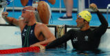 (Athens, Greece  on Saturday, Aug. 14, 2004) - Austrailia's Grant Hacket, left, with Ian Thorpe...
