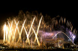 (ATHENS, GREECE-AUGUST 29, 2004)  Fireworks errupt surrounding the Olympic Stadium as the closing...
