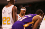 [JPM216] Colorado 14ers Bakari Hendrix, middle, closes his eyes before a free throw against the...