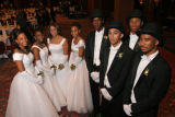 From left, escorts and beaus Vuiswa Rease, Lauren Coffey, Audrey Moton, Arianna Green, Efren...