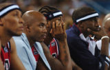 (ATHENS, GREECE, AUGUST 15, 2004) Team USA's Carmelo Anthony, (third from left) watch the clock...