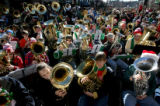 Some of the 400 tuba players took part in the 32nd annual TubaChristmas Sunday afternoon December...