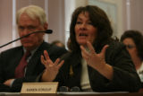 Education Department chief of staff, Karen Stroup answered questions from the Legislative Audit...