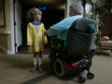 Megan Brown, 6 with the Wicks School of Irish Dancers is thanked by resident Flo Grepling after...