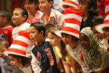 JM1029 -  Students participate in a reading of Dr Seuss's birthday at Del Pueblo Elementary...