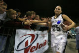 DLM1119  Horizon Hannah Tuomi is congratulated by the Horizon student fans after defeating the...