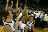 DLM1082  The Horizon Hawks celebrate after being awarded the Final Four plaque after defeating the...