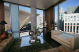 The living room in the condo of Mickey Ackerman (cq), an interior designer, and his partner,...