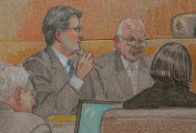 JOE680 Detail of an artist's rendering of the direct examination of former Qwest investor...