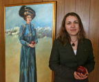 Dean Slavica Park (cq) by a painting of Emily Griffith in the school lobby , Wednesday morning...