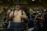 Todd 'the bod' Graves (cq) a Senior at Highlands Ranch cheers with his team ahead 10 points in the...
