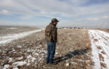 Robert Stone, February 15, 2007 stands over the spot at the Welch farmhouse in Wellington, CO...