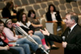 Tom Tancredo talks to students during a visit Merrimack Valley High School in Concord, on Monday,...