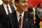 Michael Shields (CQ), 17, of Colorado Springs, Colo., dressed to impress with an American Flag tie...