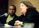 Denver Election Commissioner Susan Rogers (cq) responds to questions from the audience during a...