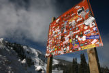 (DLM4440) -   A sign that warns of avalanche blasting at Berthoud Pass is covered in the graffiti...