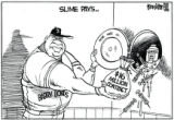 FOR SATURDAY'S PAPER. Drew Litton cartoon for Dec. 16, 2006. Barry Bonds $16 million contract with...