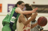 ThunderRidge's Meagan Malcom-Peck, left, defends  Denver East's Tyshel McPherson, right, in the...