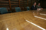 left, Lawrence A. Manzanares sits with right, Cole Finegan, (cq both), in a press conference in...