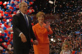NEW YORK CITY, NY - SEPT. 2, 2004 -- President George W. Bush is joined by his wife First Lady...