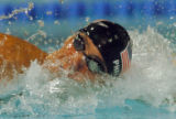 (ATHENS, GREECE-AUGUST 19, 2004)  United States' Michael Phelps swims the freestyle in the Men's...