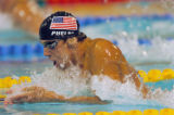 (ATHENS, GREECE-AUGUST 19, 2004)  United States' Michael Phelps swims the breaststroke in the...