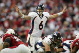 Jay Cutler directs the offense in the 3rd quarter of the Denver Broncos against the Arizona...