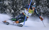 Ted Ligety from USA skis his first run of the Men's  Slalom race at the Birds of Prey World Cup...