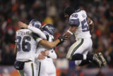 [JPM0368] In the fourth quarter, Seattle Seahawks  kicker Josh Brown (3) is mobbed by Jerramy (two...