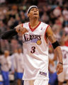 "SIXR -- PHOTO BY JERRY LODRIGUSS -- Allen Iverson points to himself and says ""This is my..."