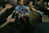 Carmelo Anthony in his first media appearance after the announcement of his 15 game suspension for...