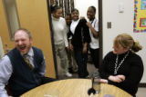 Denver's Howell Elementary School principal Kevin Fletcher (cq) laughs along with special...