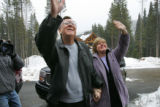 Robert and Lorie O'Neill, from Tennessee, stand on the driveway of their new HGTV Dream Home in...