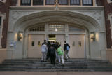Students enter Smiley Middle School, in Park Hill, early in the morning.  Smiley is a school that...