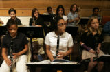 The small band at Smiley Middle School, in Park Hill, practices in the auditorium.  Smiley is a...