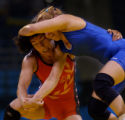 (Athens, Greece  on Sunday, Aug. 22, 2004) - American freestyle wrestler Patricia Miranda, right,...