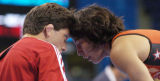 (Athens, Greece  on Sunday, Aug. 22, 2004) - American freestyle wrestler Patricia Miranda,right,...