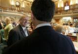 0012 Governor Bill Ritter chats with House Speaker Andrew Romanoff, D-Denver, on the floor of the...