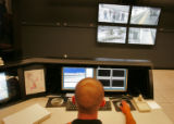 Richard Herrera (cq) a security tech for RTD monitors live cameras at various RTD stations around...