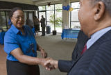 DLM2851  Denver City Council candidate Sharon Bailey, left, shakes hands with Rainow Byrd-Baldwin,...