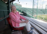 --Laurette Macomber of Grand Junction sits in the area of the Suplizio stadium she likes for JUCO....