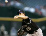AZRS101 - Colorado Rockies pitcher Jeff Francis throws in the first inning against the Arizona...