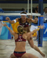 (Athens, Greece  on Tuesday, Aug. 23, 2004) -  American beach volleyball player Misty May runs...