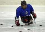 Nikko Landeros (cq),18, during a ice hockey session at the Eldora Pool and Ice Center located at...