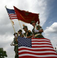 Members of the Foothills Young Marines Color Guard leave the ceremony at the end of the Marine...
