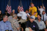 NYT3 - (NYT3) CINCINATTI, Ohio -- Sept. 8, 2004 -- DEMS-KERRY-2 -- A heckler was wrestled to the...