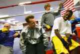 MJM152  US Boxing Team members, Mahlon Kerwick (cq), left to right, Boyd Melson (cq), Carrie Barry...