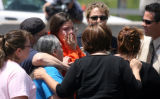 Family members related to two year-old Jose Matthew Jauregui, Jr. (cq) react after learning his...